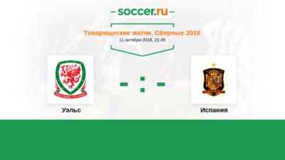 Товарищеские матчи. Уэльс - Испания. Прогнозы на матч 11.10.2018