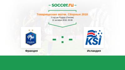 Товарищеские матчи. Франция - Исландия. Прогнозы на матч 11.10.2018 смотреть онлайн