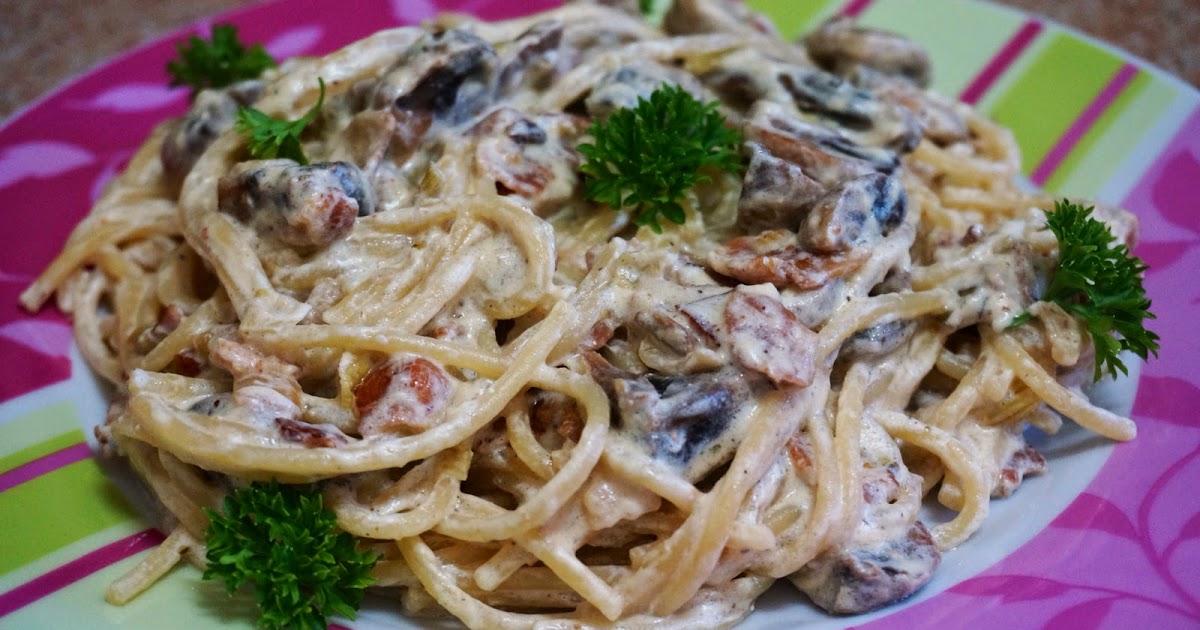 Паста с грибами, беконом и сливками рецепт с фото + видео онлайн