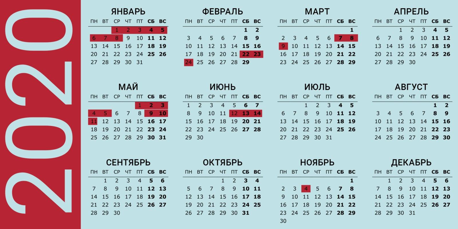 Календарь выходных дней России 2020 утвержденные правительством РФ: