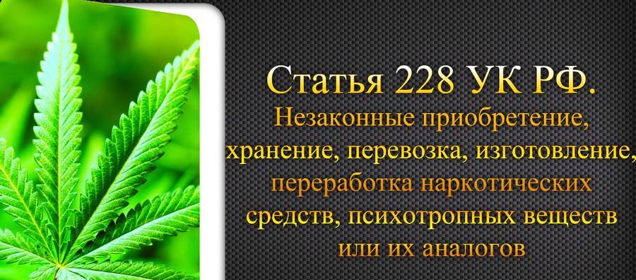 Содержание статьи 228 УК РФ