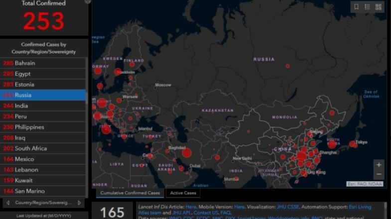 Число зараженных коронавирусом на 21 марта 2020