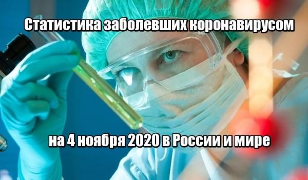 Статистика заболевших коронавирусом на 4 ноября 2020 в России и мире